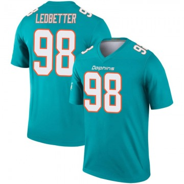 Youth Miami Dolphins Jonathan Ledbetter Aqua Legend Inverted Jersey By Nike